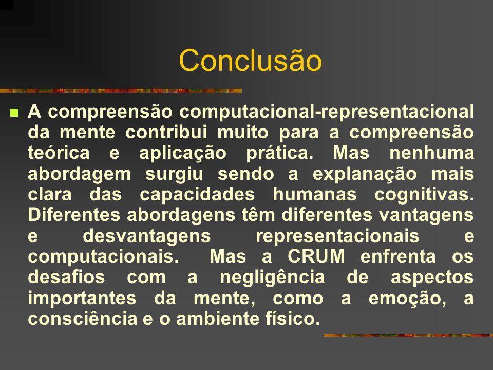 Conclusão A compreensão computacional-representacional da mente contribui muito para a compreensão teórica e aplicação prática. Mas nenhuma abordagem