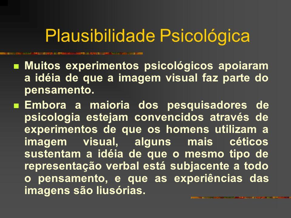 Plausibilidade Psicológica Muitos experimentos psicológicos apoiaram a idéia de que a imagem visual faz parte do pensamento. Embora a maioria dos pesq