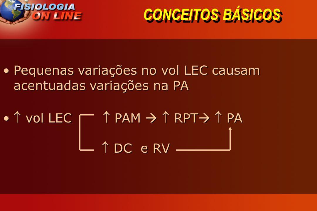 CONCEITOS BÁSICOS Pequenas variações no vol LEC causam acentuadas variações na PAPequenas variações no vol LEC causam acentuadas variações na PA vol LEC PAM RPT PA DC e RV vol LEC PAM RPT PA DC e RV