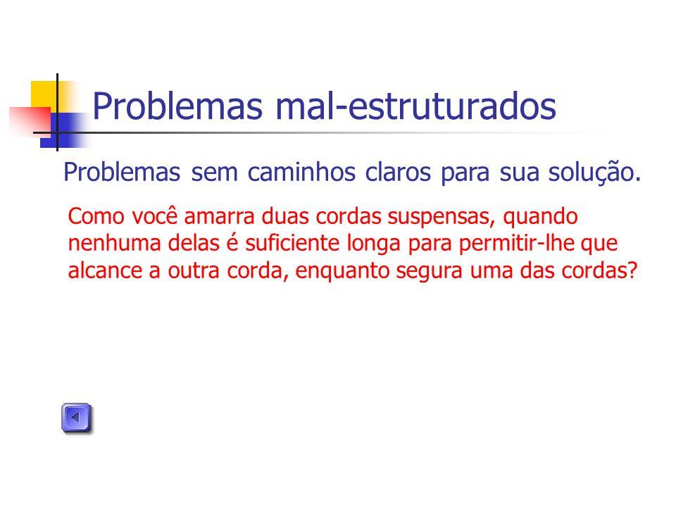 Problemas mal-estruturados Problemas sem caminhos claros para sua solução. Como você amarra duas cordas suspensas, quando nenhuma delas é suficiente l