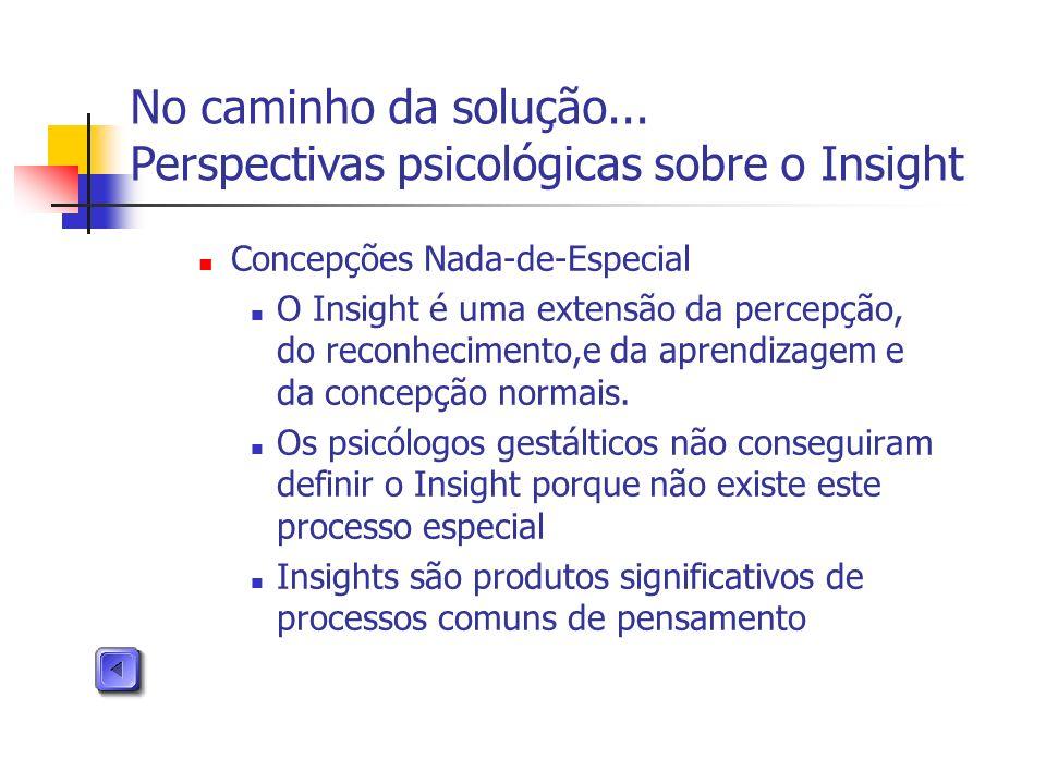Concepções Nada-de-Especial O Insight é uma extensão da percepção, do reconhecimento,e da aprendizagem e da concepção normais. Os psicólogos gestáltic