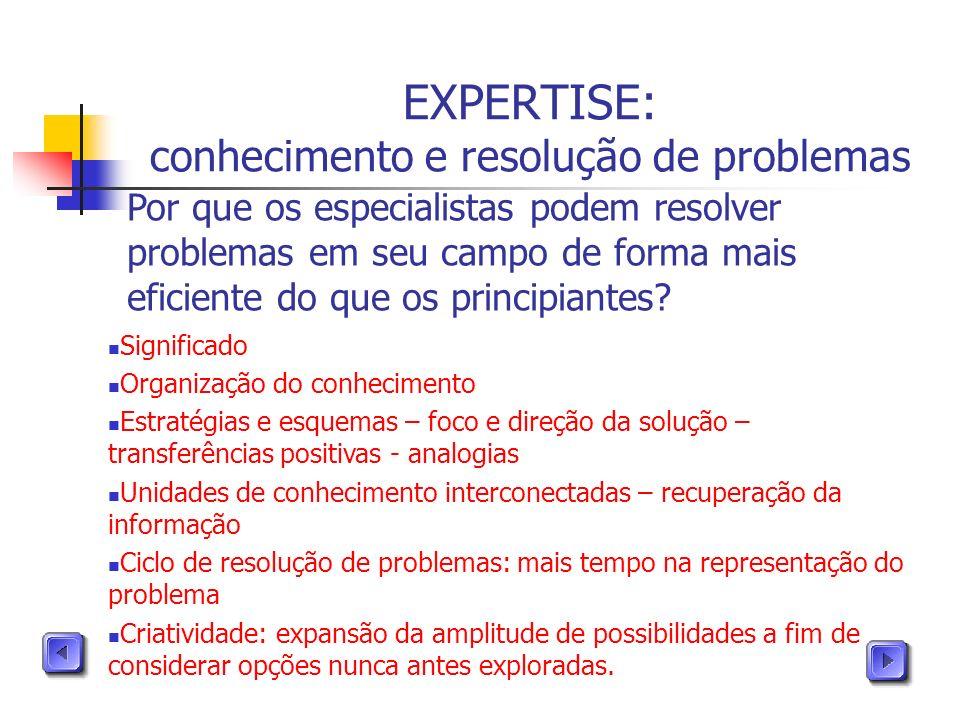 EXPERTISE: conhecimento e resolução de problemas Por que os especialistas podem resolver problemas em seu campo de forma mais eficiente do que os prin