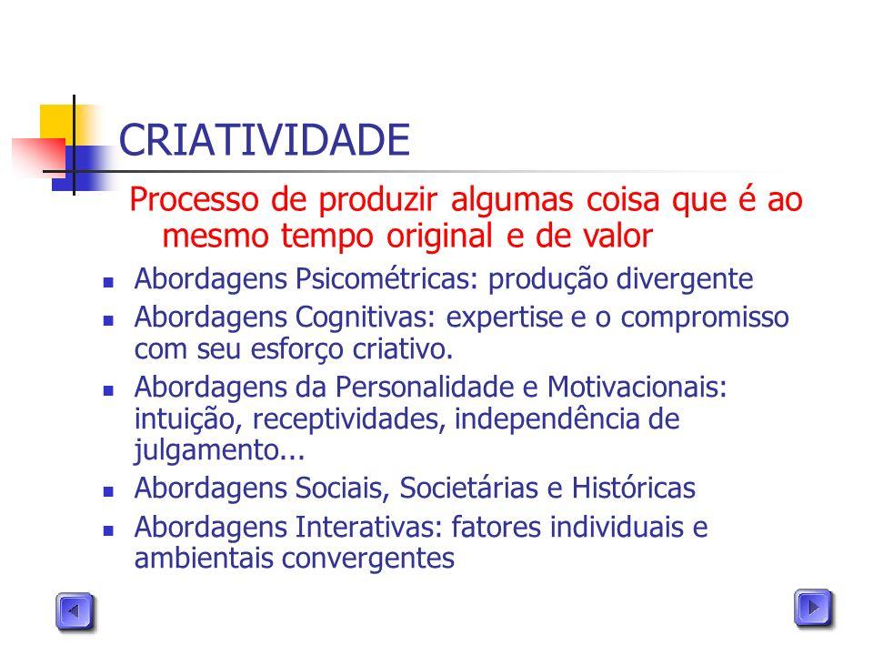 CRIATIVIDADE Abordagens Psicométricas: produção divergente Abordagens Cognitivas: expertise e o compromisso com seu esforço criativo. Abordagens da Pe