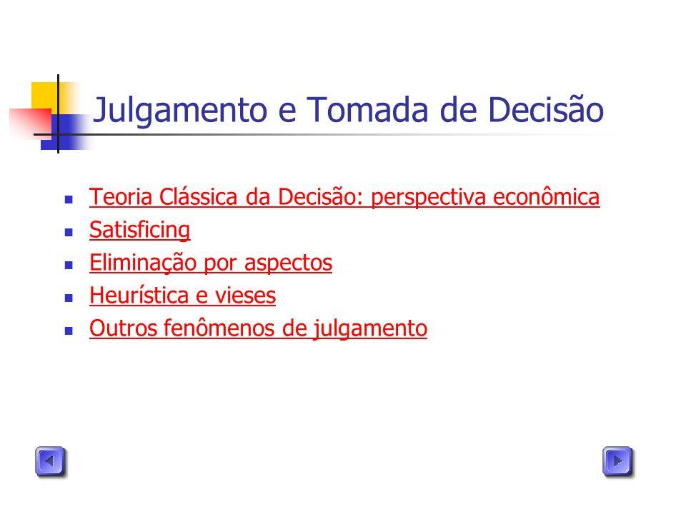Julgamento e Tomada de Decisão Teoria Clássica da Decisão: perspectiva econômica Satisficing Eliminação por aspectos Heurística e vieses Outros fenôme