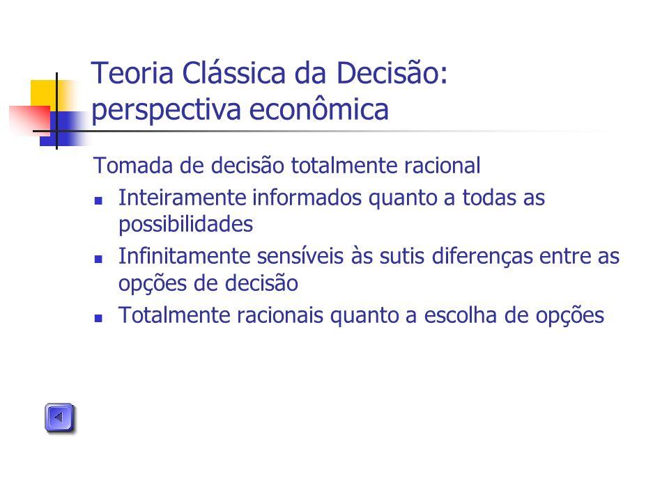 Teoria Clássica da Decisão: perspectiva econômica Tomada de decisão totalmente racional Inteiramente informados quanto a todas as possibilidades Infin