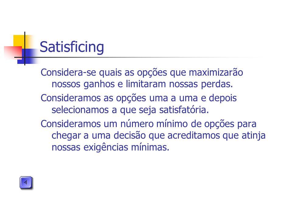 Satisficing Considera-se quais as opções que maximizarão nossos ganhos e limitaram nossas perdas. Consideramos as opções uma a uma e depois selecionam