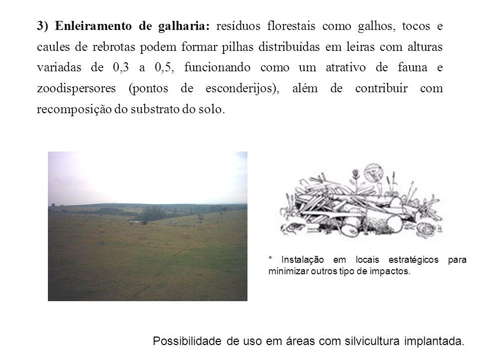 3) Enleiramento de galharia: resíduos florestais como galhos, tocos e caules de rebrotas podem formar pilhas distribuídas em leiras com alturas variad