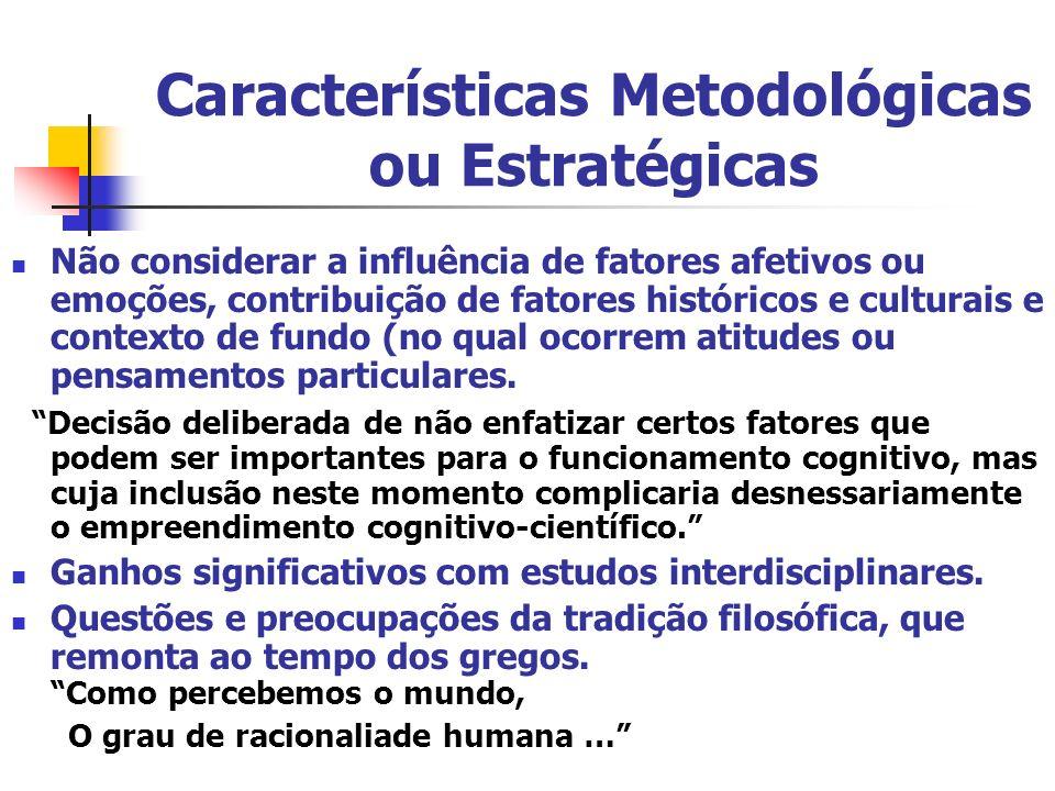 Características Metodológicas ou Estratégicas Não considerar a influência de fatores afetivos ou emoções, contribuição de fatores históricos e cultura