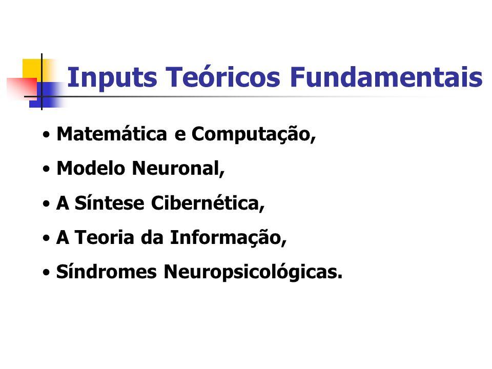 Inputs Teóricos Fundamentais Matemática e Computação, Modelo Neuronal, A Síntese Cibernética, A Teoria da Informação, Síndromes Neuropsicológicas.