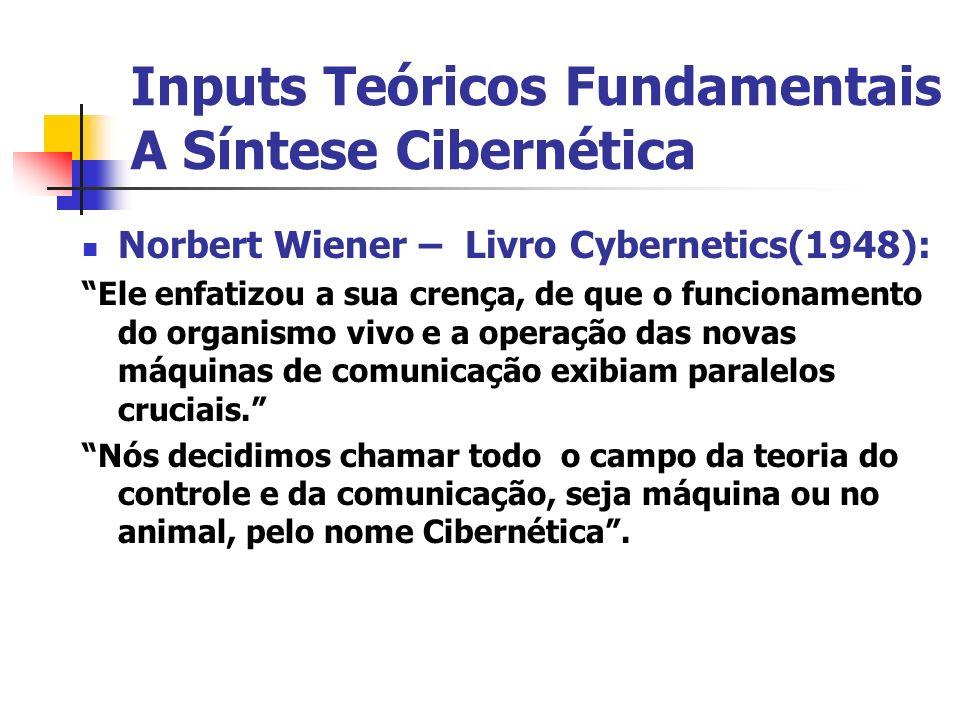 Inputs Teóricos Fundamentais A Síntese Cibernética Norbert Wiener – Livro Cybernetics(1948): Ele enfatizou a sua crença, de que o funcionamento do org