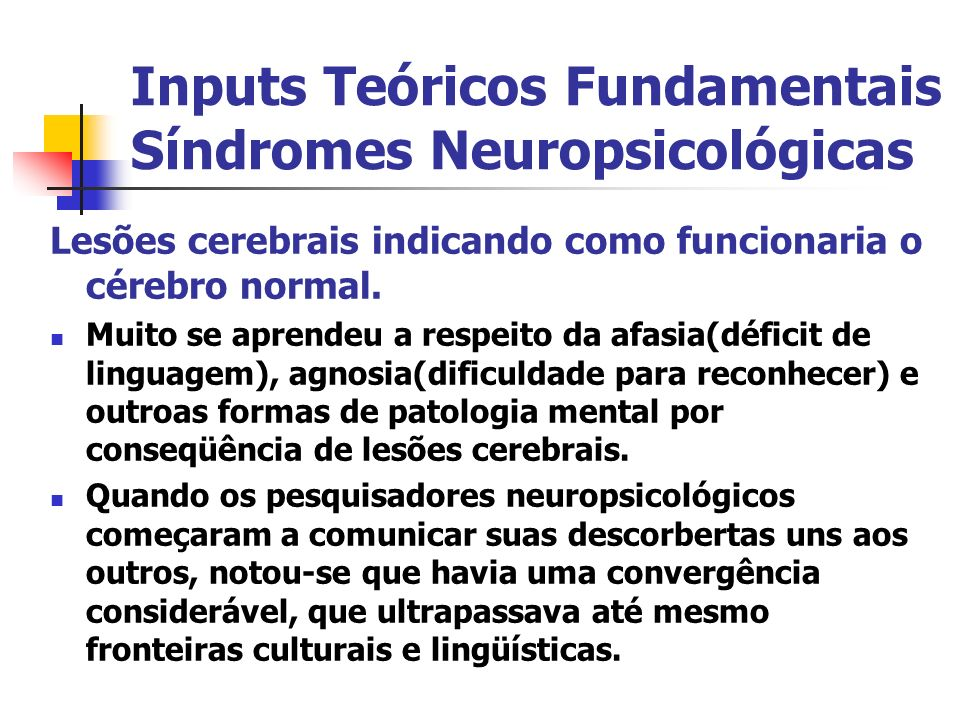 Inputs Teóricos Fundamentais Síndromes Neuropsicológicas Lesões cerebrais indicando como funcionaria o cérebro normal. Muito se aprendeu a respeito da