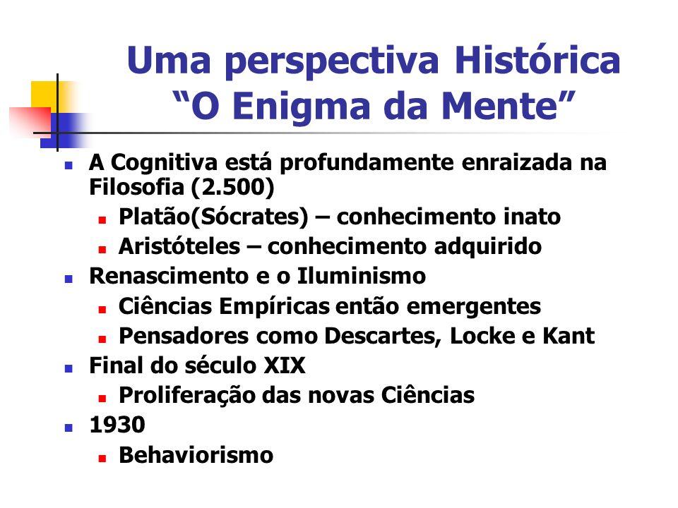 Uma perspectiva Histórica O Enigma da Mente A Cognitiva está profundamente enraizada na Filosofia (2.500) Platão(Sócrates) – conhecimento inato Aristó