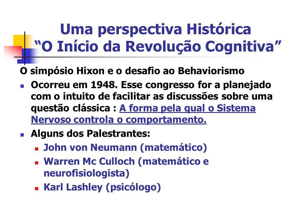 Uma perspectiva Histórica O Início da Revolução Cognitiva O simpósio Hixon e o desafio ao Behaviorismo Ocorreu em 1948. Esse congresso for a planejado
