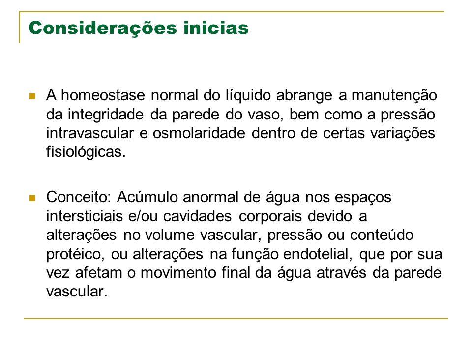 Considerações inicias A homeostase normal do líquido abrange a manutenção da integridade da parede do vaso, bem como a pressão intravascular e osmolar