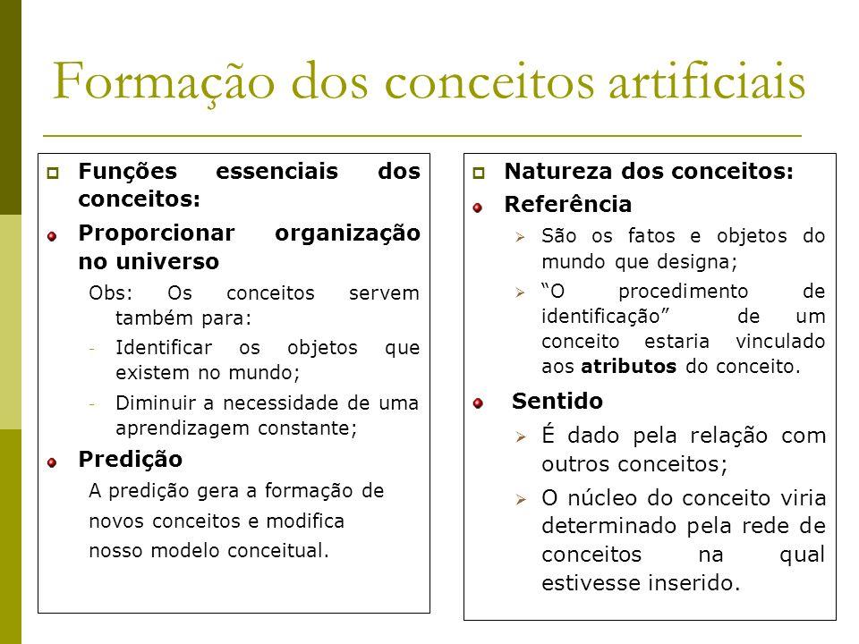 Formação dos conceitos artificiais Segundo Rosch ( 1977,1978), os conceitos estão na realidade e o sujeito limita-se a extrai-los ou a apagá-los.