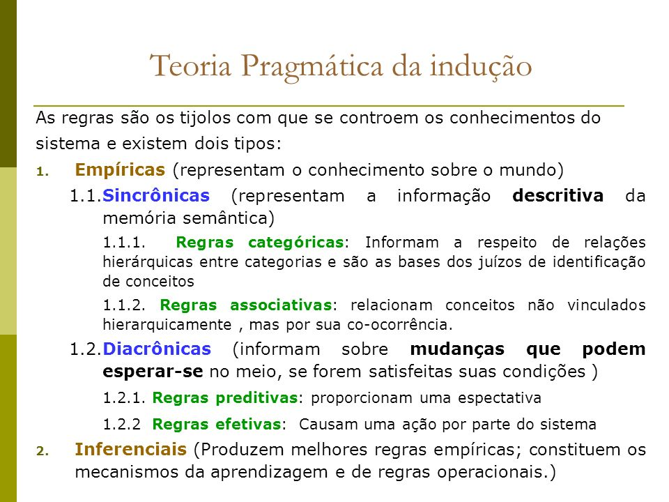 As regras são os tijolos com que se controem os conhecimentos do sistema e existem dois tipos: 1. Empíricas (representam o conhecimento sobre o mundo)