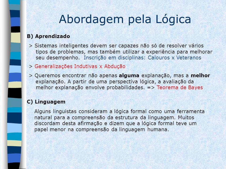 Abordagem pela Lógica B) Aprendizado > Sistemas inteligentes devem ser capazes não só de resolver vários tipos de problemas, mas também utilizar a exp