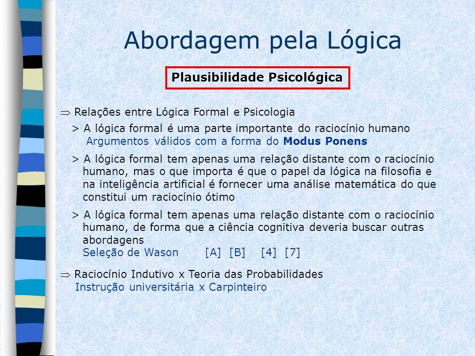 Abordagem pela Lógica Plausibilidade Psicológica Relações entre Lógica Formal e Psicologia > A lógica formal é uma parte importante do raciocínio huma
