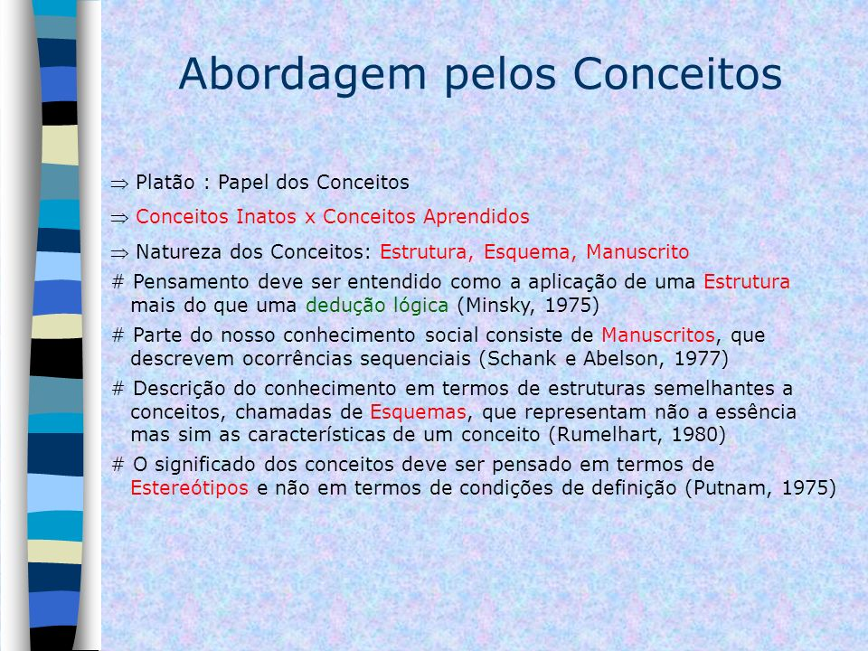 Abordagem pelos Conceitos Platão : Papel dos Conceitos Conceitos Inatos x Conceitos Aprendidos Natureza dos Conceitos: Estrutura, Esquema, Manuscrito