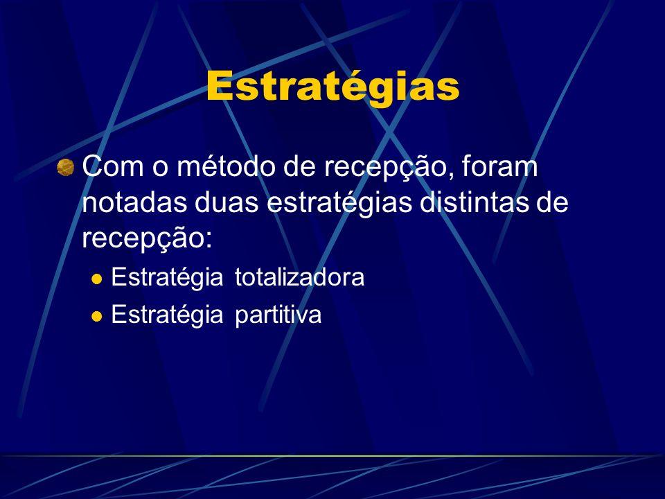 Estratégias Com o método de recepção, foram notadas duas estratégias distintas de recepção: Estratégia totalizadora Estratégia partitiva