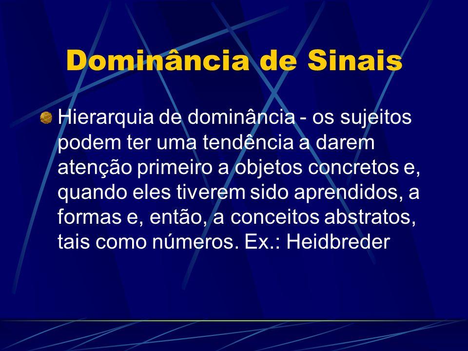 Dominância de Sinais Hierarquia de dominância - os sujeitos podem ter uma tendência a darem atenção primeiro a objetos concretos e, quando eles tivere