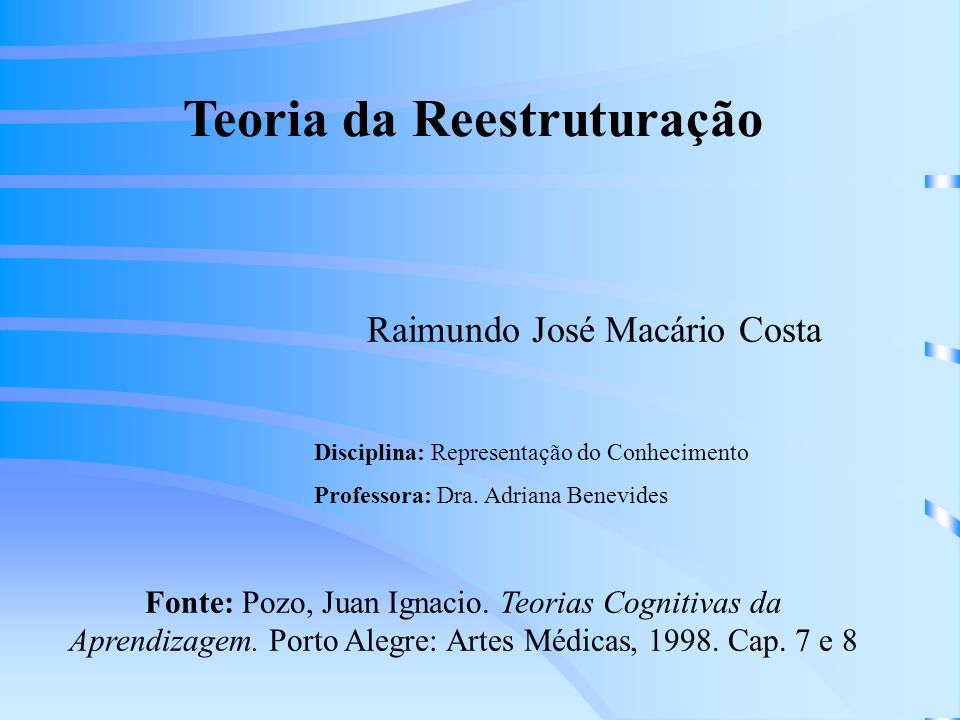 Teoria da Reestruturação Raimundo José Macário Costa Disciplina: Representação do Conhecimento Professora: Dra.