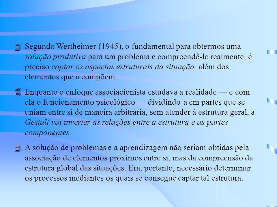 4Segundo Wertheimer (1945), o fundamental para obtermos uma solução produtiva para um problema e compreendê-lo realmente, é preciso captar os aspectos estruturais da situação, além dos elementos que a compõem.