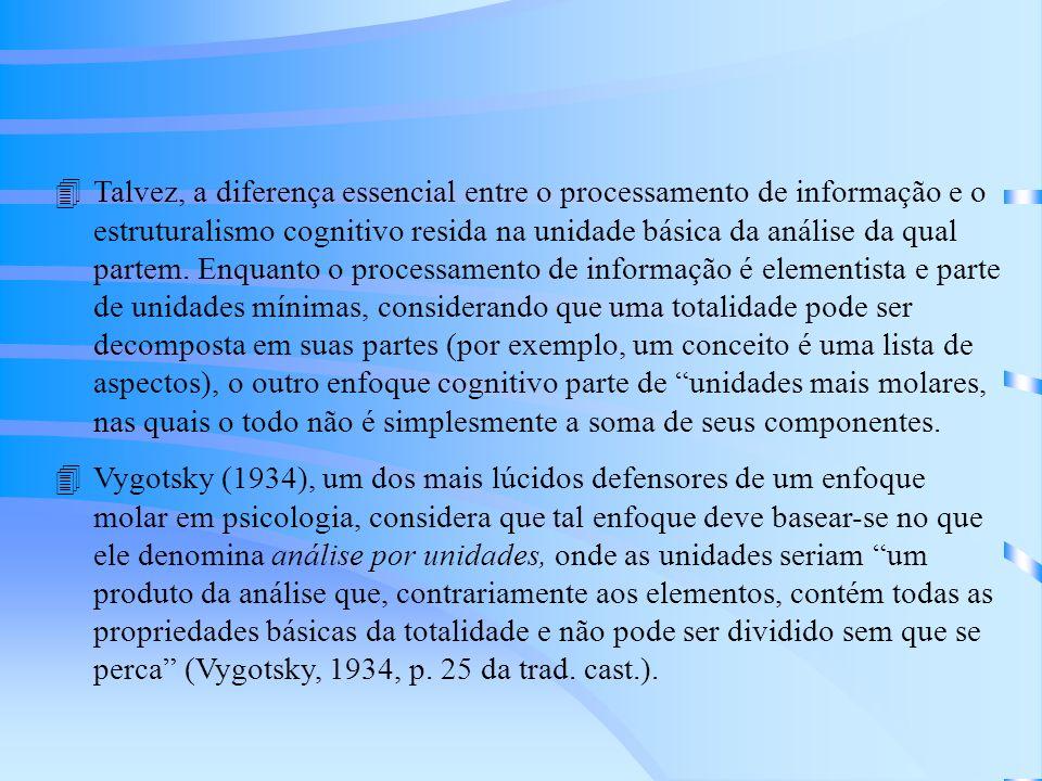 4O estudo da formação de conceitos a partir dessas unidades ou globalidades pressupõe a rejeição da idéia comumente aceita por todas as teorias revisadas nos capítulos anteriores de que os conceitos ficam definidos pelas características ou atributos que os definem.