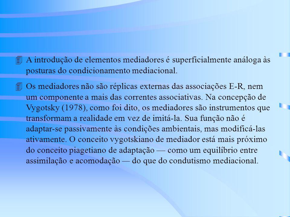 4A introdução de elementos mediadores é superficialmente análoga às posturas do condicionamento mediacional.