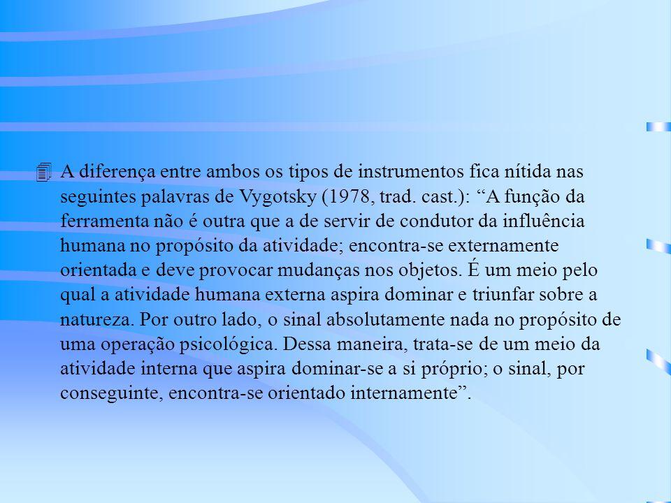4A diferença entre ambos os tipos de instrumentos fica nítida nas seguintes palavras de Vygotsky (1978, trad.