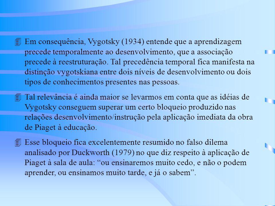 4Em consequência, Vygotsky (1934) entende que a aprendizagem precede temporalmente ao desenvolvimento, que a associação precede à reestruturação.