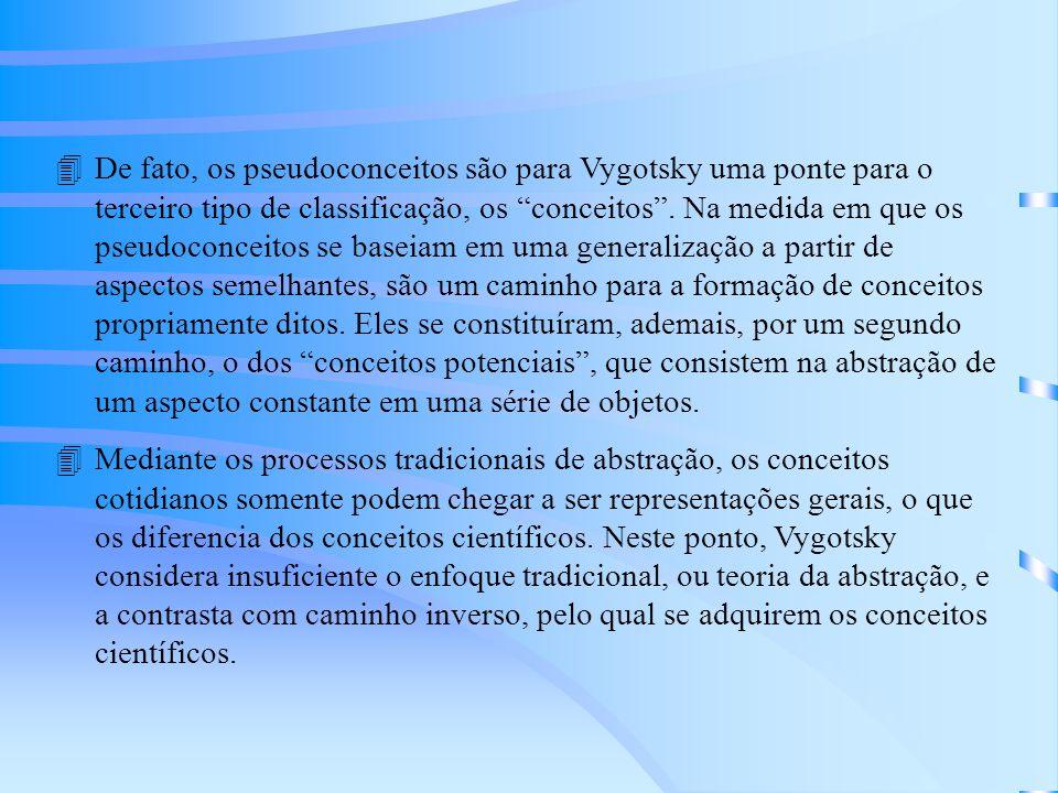 4De fato, os pseudoconceitos são para Vygotsky uma ponte para o terceiro tipo de classificação, os conceitos.