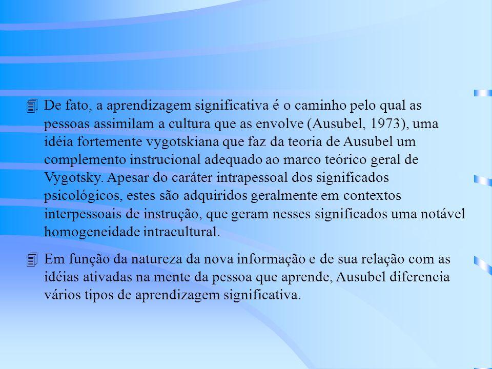 4De fato, a aprendizagem significativa é o caminho pelo qual as pessoas assimilam a cultura que as envolve (Ausubel, 1973), uma idéia fortemente vygotskiana que faz da teoria de Ausubel um complemento instrucional adequado ao marco teórico geral de Vygotsky.