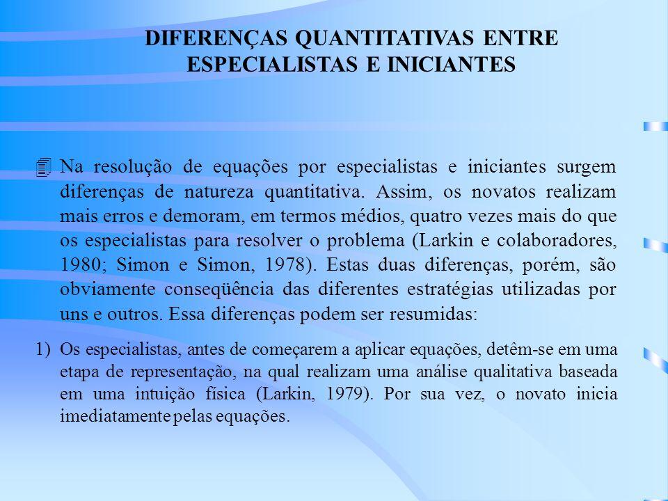 DIFERENÇAS QUANTITATIVAS ENTRE ESPECIALISTAS E INICIANTES 4Na resolução de equações por especialistas e iniciantes surgem diferenças de natureza quantitativa.