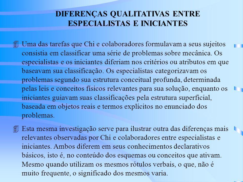 4Uma das tarefas que Chi e colaboradores formulavam a seus sujeitos consistia em classificar uma série de problemas sobre mecânica.