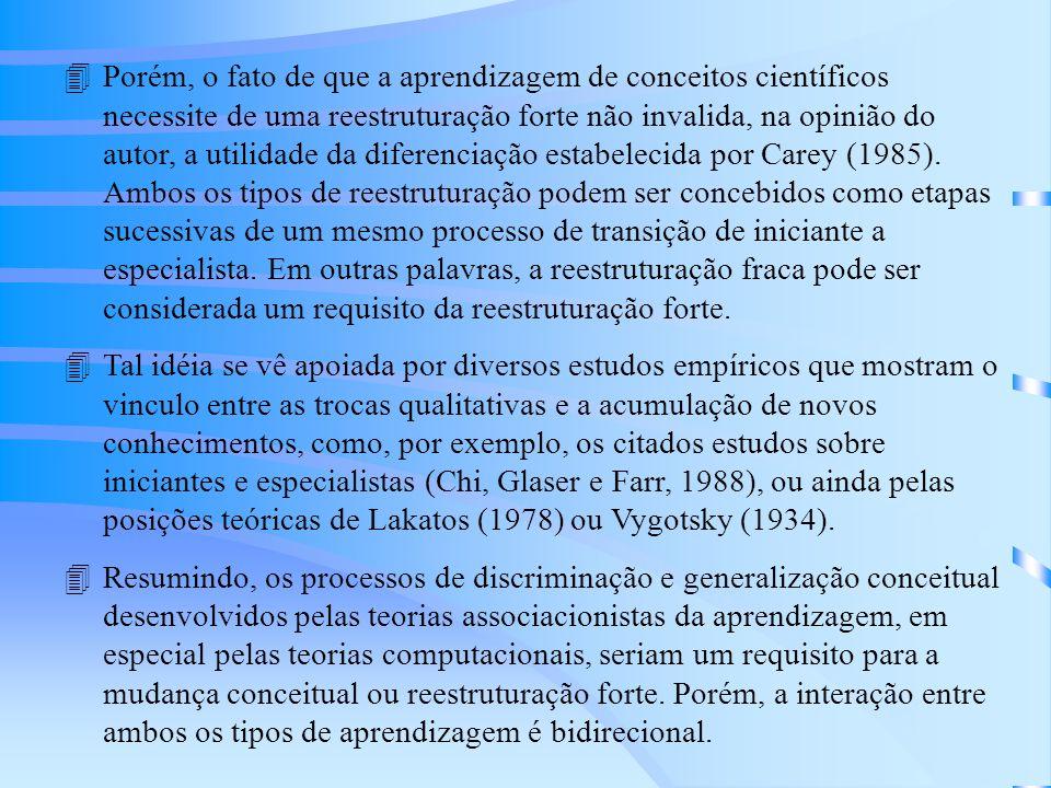 4Porém, o fato de que a aprendizagem de conceitos científicos necessite de uma reestruturação forte não invalida, na opinião do autor, a utilidade da diferenciação estabelecida por Carey (1985).