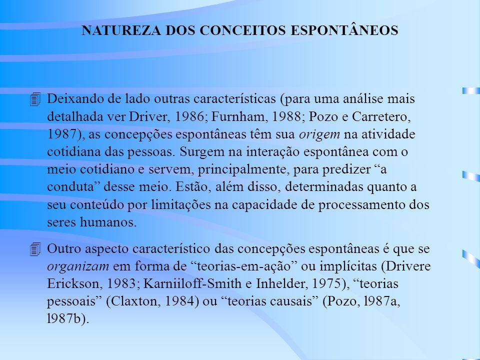4Deixando de lado outras características (para uma análise mais detalhada ver Driver, 1986; Furnham, 1988; Pozo e Carretero, 1987), as concepções espontâneas têm sua origem na atividade cotidiana das pessoas.