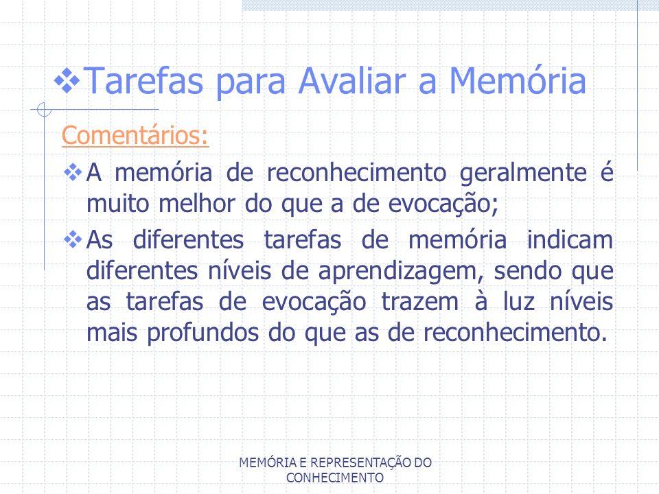 MEMÓRIA E REPRESENTAÇÃO DO CONHECIMENTO Tarefas para Avaliar a Memória Comentários: A memória de reconhecimento geralmente é muito melhor do que a de