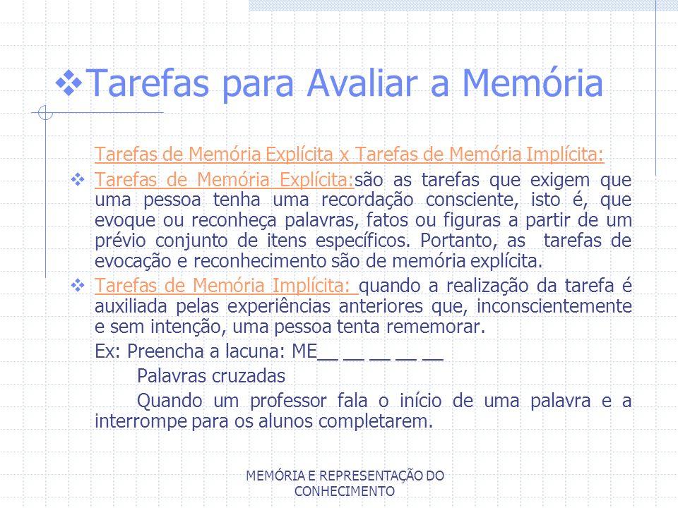 MEMÓRIA E REPRESENTAÇÃO DO CONHECIMENTO Tarefas para Avaliar a Memória Tarefas de Memória Explícita x Tarefas de Memória Implícita: Tarefas de Memória