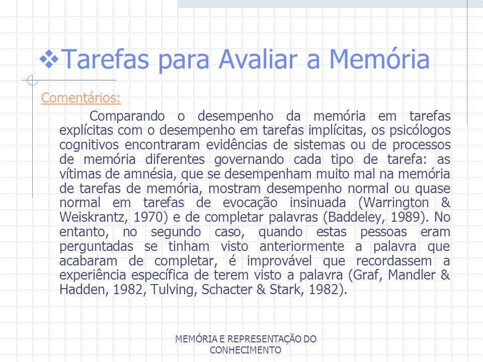 MEMÓRIA E REPRESENTAÇÃO DO CONHECIMENTO Tarefas para Avaliar a Memória Comentários: Comparando o desempenho da memória em tarefas explícitas com o des