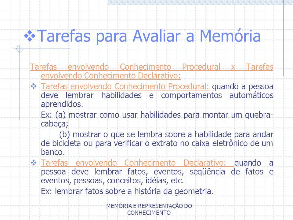 MEMÓRIA E REPRESENTAÇÃO DO CONHECIMENTO Tarefas para Avaliar a Memória Tarefas envolvendo Conhecimento Procedural x Tarefas envolvendo Conhecimento De