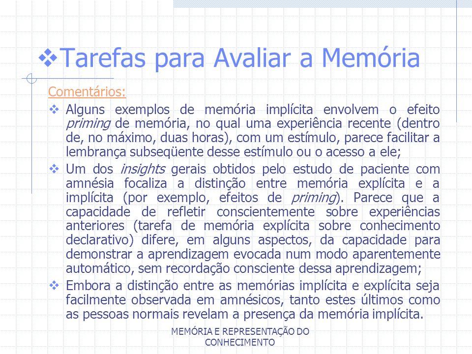 MEMÓRIA E REPRESENTAÇÃO DO CONHECIMENTO Tarefas para Avaliar a Memória Comentários: Alguns exemplos de memória implícita envolvem o efeito priming de