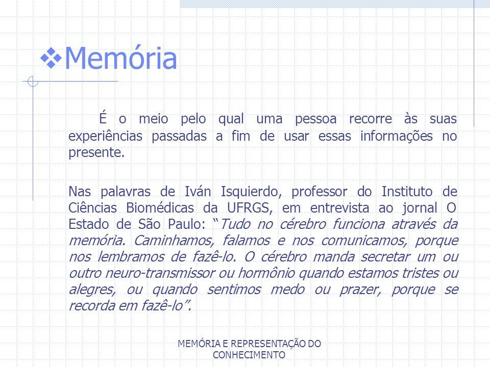 MEMÓRIA E REPRESENTAÇÃO DO CONHECIMENTO Memória É o meio pelo qual uma pessoa recorre às suas experiências passadas a fim de usar essas informações no