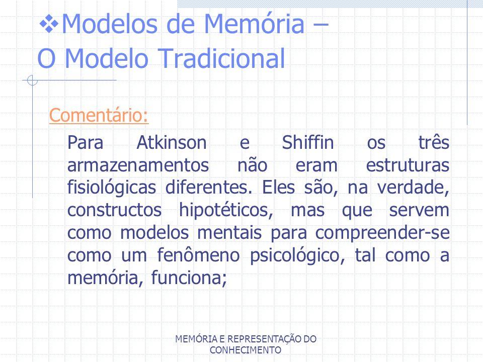MEMÓRIA E REPRESENTAÇÃO DO CONHECIMENTO Modelos de Memória – O Modelo Tradicional Comentário: Para Atkinson e Shiffin os três armazenamentos não eram