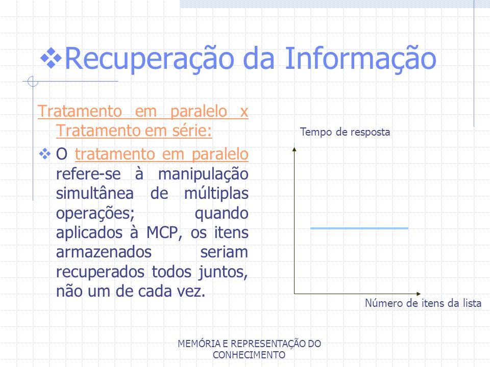 MEMÓRIA E REPRESENTAÇÃO DO CONHECIMENTO Recuperação da Informação Tratamento em paralelo x Tratamento em série: O tratamento em paralelo refere-se à m