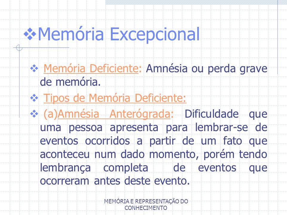 MEMÓRIA E REPRESENTAÇÃO DO CONHECIMENTO Memória Excepcional Memória Deficiente: Amnésia ou perda grave de memória. Tipos de Memória Deficiente: (a)Amn