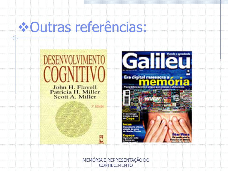 MEMÓRIA E REPRESENTAÇÃO DO CONHECIMENTO Outras referências: