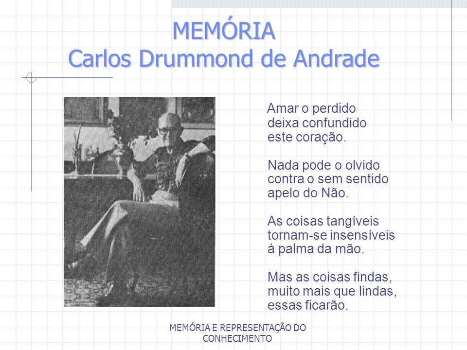 MEMÓRIA E REPRESENTAÇÃO DO CONHECIMENTO MEMÓRIA Carlos Drummond de Andrade Amar o perdido deixa confundido este coração. Nada pode o olvido contra o s