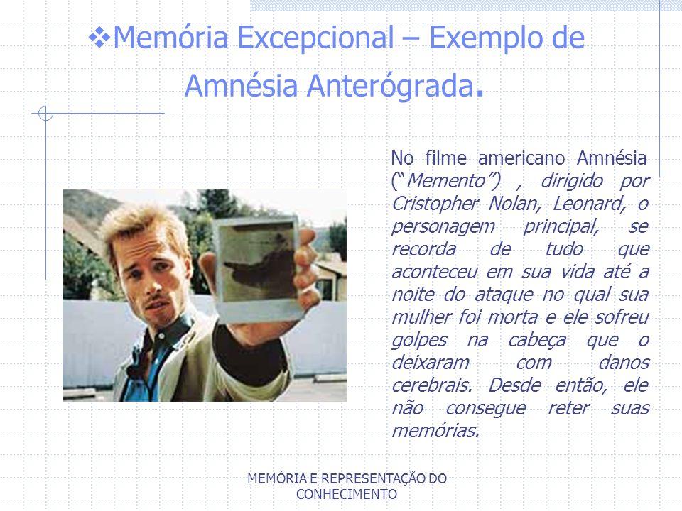 MEMÓRIA E REPRESENTAÇÃO DO CONHECIMENTO Memória Excepcional – Exemplo de Amnésia Anterógrada. No filme americano Amnésia (Memento), dirigido por Crist