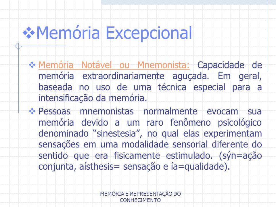 MEMÓRIA E REPRESENTAÇÃO DO CONHECIMENTO Memória Excepcional Memória Notável ou Mnemonista: Capacidade de memória extraordinariamente aguçada. Em geral